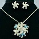 Hi-Q Sea Star Starfish Necklace Earring Set Pendant Clear Swarovski Crystals