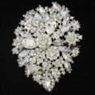 3905 Wedding Clear Swarovski Crystals Flower Brooch Broach Pin 3.9""
