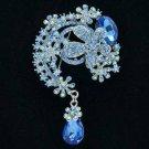 "Teardrop Blue Flower Brooch Pendant Pin 3.1"" w/ Rhinestone Crystals 6317"