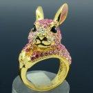 Gold Tone Pink Bunny Rabbit Cocktail Ring Size 7# W/ Swarovski Crystals SR1842