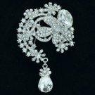 """Wedding Teardrop Clear Flower Brooch Pendant Pin 3.1"""" w/ Rhinestone Crystals"""