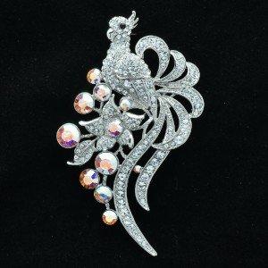 H-Quality Clear Swarovski Crystals Peafowl Peacock Brooch Broach Pin SBA4408-2