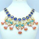 Rhinestone Crystals Multicolor Flower Necklace Pendant W/ Blue Zircon