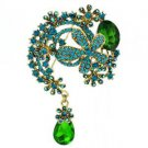 "Teardrop Green Flower Brooch Pendant Pin 3.1"" w/ Rhinestone Crystals 6317"