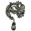 "Teardrop Black Flower Brooch Pendant Pin 3.1"" w/ Rhinestone Crystals 6317"