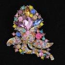 """3.1"""" Cute Flower Brooch Broach Pin W/ Mix Rhinestone Crystals 4226"""