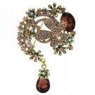 "Teardrop Purple Flower Brooch Pendant Pin 3.1"" w/ Rhinestone Crystals 6317"