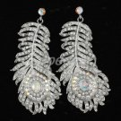 Peacock Pierced Feather Earring W/ Swarovski Crystals 2316