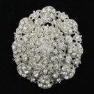 """Wedding Fashion Flower Brooch Broach 2.7"""" with Clear Rhinestone Crystals 3808"""