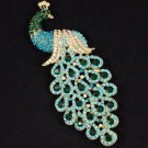 "Hot Pretty Blue Peafowl Peacock Brooch Pin 4.9"" W/ Rhinestone Crystals 4871"