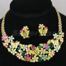 New Enamel Flower Butterfly Necklace Earring Set W/ Swarovski Crystals 896901