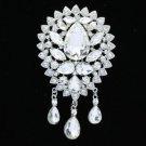 """Wedding Bridal Floral Flower Brooch Pin 4.1"""" W/ Clear Rhinestone Crystals TZ5098"""