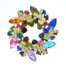 Rhinestone Crystals Multicolor Olive Branch Round Leaf Flower Brooch Broach Pin