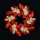 "Red Round Olive Branch Leaf Flower Brooch Broach Pin 2.1"" w/ Rhinestone Crystals"