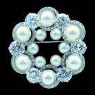Wedding Bridal Pearl Flower Brooch Broach Pin W/ Clear Swarovski Crystals 01101
