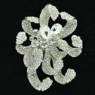 """chrysanthemum Flower Brooch Pin 3.1"""" W/ Clear Rhinestone Crystals Wedding 6173"""