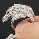 High Quality Swarovski Crystals Animal Clear Horse Cocktail Ring Sz 9# SR1610-1