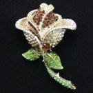 """Glitz Brown Flower Brooch Broach Pin 3.5"""" W/ Rhinestone Crystals 8804751"""