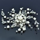 Wedding White Imitation Peral Flower Hair Comb W/ Clear Swarovski Crystal 22144S
