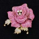 "New Cute Rose Flower Brooch Pin 2.1"" W/ Pink Rhinestone Crystals"