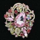"Vintage Style Leaf Flower Brooch Broach Pin 2.5"" W/ Pink Rhinestone Crystal 6173"