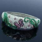 Rhinestone Crystals Silver Tone Flower Bracelet Bangle Cuff W/ Purple Butterfly
