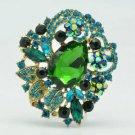 """Vintage Style Leaf Flower Brooch Broach Pin 2.5"""" W Green Rhinestone Crystal 6173"""