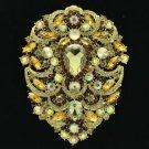 "Brown Swarovski Crystals Big Drop Pendant Flower Brooch Broach Pin 4.9"" 4045"