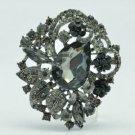 """Black Leaf Flower Brooch Broach Pin 2.5"""" W/ Gray Rhinestone Crystals 6173"""