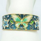 Enamel Flower Green Butterfly Bracelet Bangle Cuff Swarovski Crystal SKA2054M-2