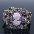 Vintage Style Purple Rhinestone Crystals Flower Relief Bracelet Bangle