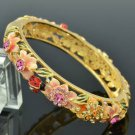 Ladybug Butterfly Pink Flower Bracelet Bangle W/ Swarovski Crystals SKCA1404M-1