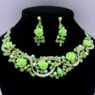 Vogue Green Acrylic Rose Flower Necklace Earring Set W Rhinestone Crystals 02677