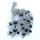 "Vintage Style Rhinestone Crystals Black Peafowl Peacock Brooch Pin Drop 5.1"""