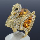 Vintage Style Brown Swarovski Crystals Goose Swan Cocktail Ring Size 8# SR2069-1