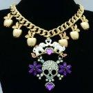 Gold Tone Apple Elephant Skull Necklace Pendant W/ Rhinestone Crystals