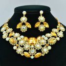 Marquise Topaz Rhinestone Crystals Cluster Flower Necklace Earring Set 02475