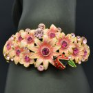 High Quality Ladybug Flower Bracelet Bangle W Pink Swarovski Crystal SKCA1783M-1