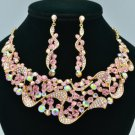 Romantic Pink Riband Flower Necklace Earring Set W Rhinestone Crystals 02669
