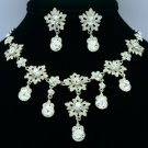 Wedding Bride Clear Flower Necklace Earring Jewelry Set Swarovski Crystal 2726A