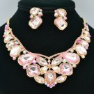 Pink Rhinestone Crystal Flower Butterfly Necklace Earring Set Radiant Drop 00355