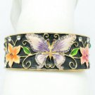 Enamel Flower Purple Butterfly Bracelet Bangle Cuff Swarovski Crystal SKA2054M-3