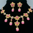Luxury Art Deco Flower Necklace Earring Set Round Pink Swarovski Crystals 2726A