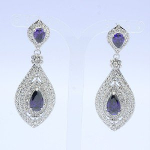 Dangle Drop Flower Pierced Earring Clear Rhinestone Crystals Purple Zircon 8558