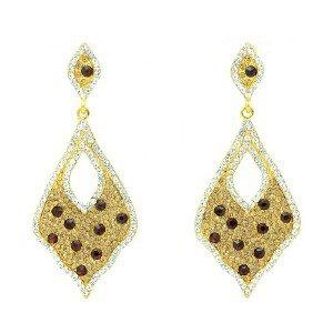 Rhinestone Crystals Gold Tone Brown Drop Dangle Pierced Earring 108544