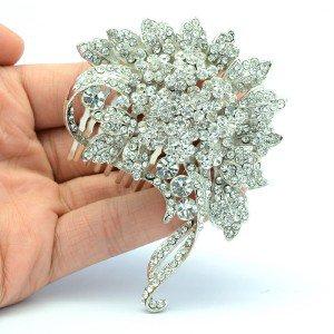 Rhinestone Crystals Bridesmaid Bridal Flower Hair Comb Floral 5842