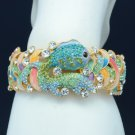 HI-Q Stylish Green Goldfish Bracelet Bangle Cuff w/ Swarovski Crystal SKSA1749-2