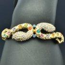 Multicolor Swarovski Crystals Vintage Style 2 Snake Bracelet Bangle SKCA1939M-1