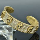 Gold Tone 5 Skull Bracelet Bangle Cuff W/ Clear Swarovski Crystal SKA2023M