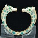 Blue Enamel 2 Giraffe Bracelet Bangle Cuff W/ Clear Rhinestone Crystals L1074